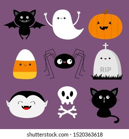 Happy Halloween. Bat, candy corn, ghost spirit, pumpkin, cat, dracula, skull bone, spider, gravestone. Cute cartoon kawaii funny baby character set. Flat design. Violet background Isolated Vector