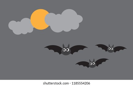 Happy Halloween with bat, cloud, and moon illustion