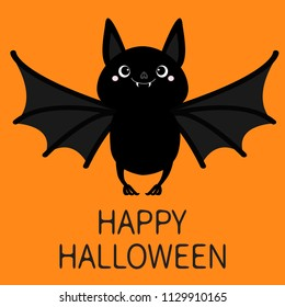 Happy Halloween. Bat flying. Cute cartoon baby character with big open wing, ears, legs. Black silhouette. Forest animal. Flat design. Orange background. Isolated. Greeting card. Vector illustration