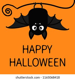 Happy Halloween. Bat hanging. Cute cartoon baby character with big open wing, ears, legs. Black silhouette. Forest animal. Flat design. Orange background. Isolated. Greeting card. Vector illustration