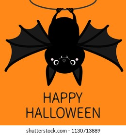 Happy Halloween. Bat hanging on rope. Cute cartoon baby character with big open wing, ears, legs. Black silhouette. Forest animal. Flat design. Orange background. Isolated. Greeting card. Vector