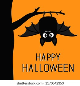 Happy Halloween. Bat hanging on tree. Cute cartoon baby character with big open wing, ears, legs. Black silhouette. Forest animal. Flat design. Orange background. Isolated. Greeting card. Vector