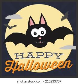 Happy Halloween Bat with Moonlit Background Vector