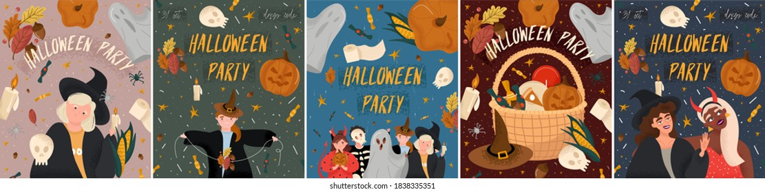 Happy Halloween. Big set of Halloween party posters in cartoon style. Bright vector posters with children in costumes of ghosts, devil, skeleton and witches. Pumpkin, ghost, leaves, sweets, stars.