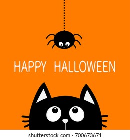Happy Halloween. Black cat face head silhouette looking up to hanging on dash line web spider insect. Cute cartoon character. Baby pet animal collection. Flat design Orange background. Vector