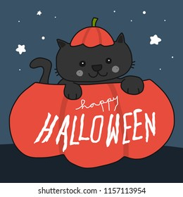 Happy Halloween black cat in pumpkin cartoon vector doodle illustration