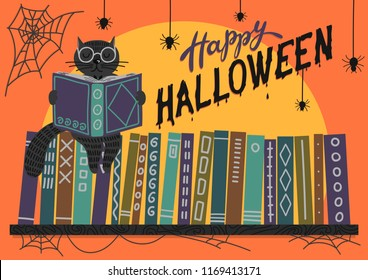 Happy Halloween. Black cat reading book on bookshelf on orange background with lettering. Vector illustration. Perfect greeting card, banner for libraries, bookstores and educational institutions .