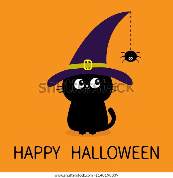 Happy Halloween Black Cat Silhouette Looking Stock Vector Royalty Free 1140198839
