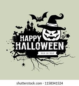 Happy Halloween black and white message, pumpkin hat, bat, castle design background, vector illustrations
