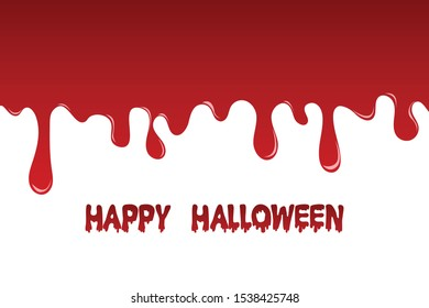 happy halloween and blood flow on white background. paint red color dropping. vector illustration in flat design. copy-space for text. vector illustration in flat design.