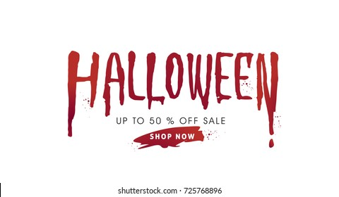 Happy Halloween calligraphy with blood.text banners party invitation.Vector illustration.