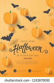 """Happy Halloween calligraphy with paper bats and pumpkins. banners party invitation.Vector illustration.calligraphy of """"halloween"""""""
