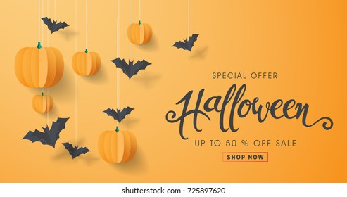 Happy Halloween calligraphy with paper bats and pumpkins. banners party invitation.Vector illustration.