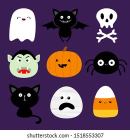Happy Halloween. Candy corn, ghost spirit, pumpkin, cat dracula, bat, skull bone, spider, mummy face. Cute cartoon kawaii funny baby character set. Flat design. Violet background. Vector illustration