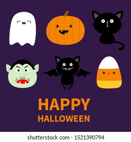 Happy Halloween. Candy corn, ghost spirit, pumpkin, cat, dracula, bat with face. Cute cartoon kawaii funny baby character set. Flat design. Violet background. Isolated. Vector illustration