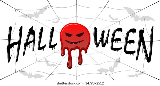 Happy Halloween card. Black scary design isolated on white background. Horror silhouette banner, holiday card. Cartoon dripping flow blood, swarm flying bats, sinister face, web Vector illustration