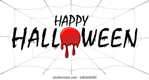 Happy Halloween card. Black scary design isolated on white background. Horror silhouette for banner, holiday card. Cartoon sinister dripping flow blood, web, Halloween celebration Vector illustration