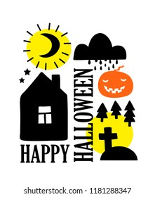 Happy Halloween card cover in simple scandinavian style. Vector illustration for autumn holiday.
