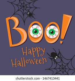 Happy Halloween card with creepy eye, boo