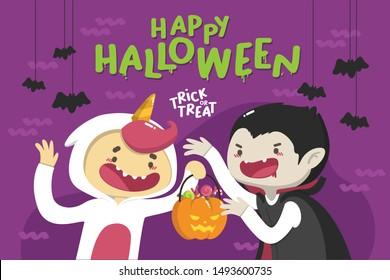 Happy Halloween Card in cute cartoon Illustration, bat accessories, kid wearing unicorn costume in cute cartoon illustration holding a bucket of candies, kid wearing spooky vampire costume