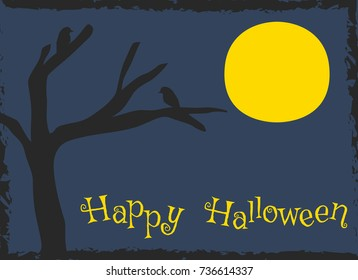 Happy Halloween card design, creepy silhouette of crows perch on dead tree  cartoon vector