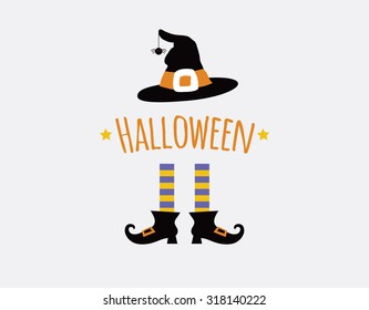 happy halloween card design with witch legs and hat. vector illustration