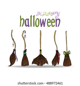 Happy halloween card with different cute witch brooms.