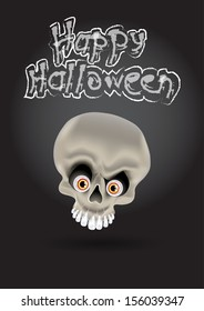 happy halloween card flayer with funny skull