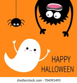 Happy Halloween card. Flying ghost spirit. Monster head silhouette. Eyes, hands. Hanging upside down. Black spider dash line. Funny Cute cartoon baby character. Flat design. Orange background. Vector