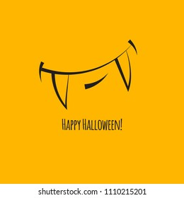 Happy halloween card, good monster, vampire with teethe. Vector illustration