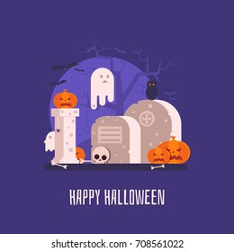 Happy halloween card with haunted graveyard with spooks, bats and pumpkins. Halloween background or banner concept with old gothic ghost cemetery.