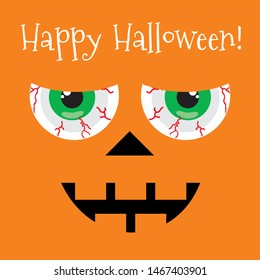 Happy Halloween card pumpkin with creepy eye