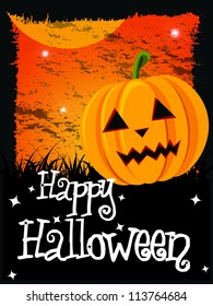 Happy Halloween Card With Pumpkin And Message, Vector