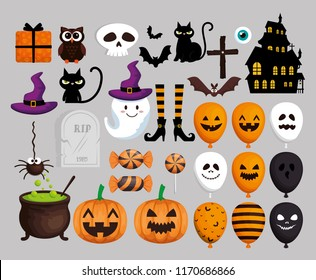 happy halloween card with set icons