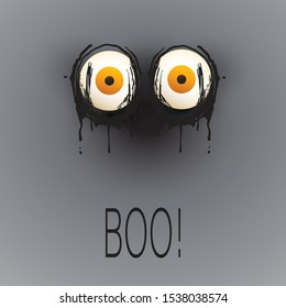 Happy Halloween Card Template - Creepy Face with Pop Out Eyes in the Dark - Vector Illustration