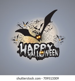 Happy Halloween Card Template - Flying Bats with Glowing Eyes Under Full Moon - Vector Illustration