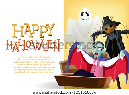 happy halloween card template vampire coffin stock vector royalty