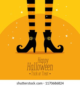 happy halloween card with witch feet
