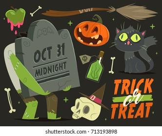 Happy Halloween card/background. Vector illustration.