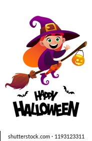 Happy Halloween cartoon character costume witch kid vector