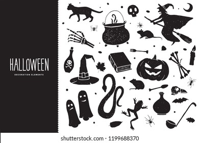 Happy Halloween. Cartoon set of black holiday elements: a witch on a broomstick, bones, a pumpkin, a frog, a ghost, a cauldron with a potion, a snake. Halloween silhouettes. Vector illustration.
