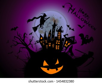 Happy Halloween. A castle of horrors with ghosts. Vector illustration