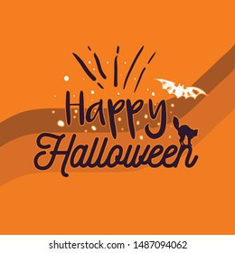 Happy Halloween With Cat and Bat Background Trick or Treat Handwritten Calligraphy with web spiderman with texture for poster , banner , tshirt , party invitation
