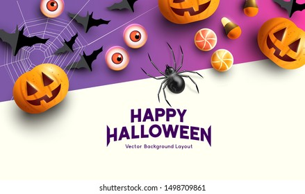 Happy halloween celebration background with Jack O Lantern pumpkins and spooky decorations. Vector illustration