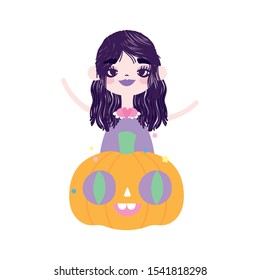 happy halloween celebration girl witch and pumpkin vector illustration