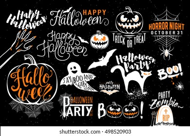 Happy Halloween celebration icon label templates with scary symbols - zombie hand, bat, halloween pumpkin, cat, boo, ghost, spider, spiderweb. Retro element for Halloween party posters, invitations