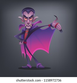 Happy Halloween character - cute vampire isolated on dark background. Vector illustration.