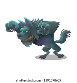 Happy Halloween character - cute werewolf isolated on white background. Vector illustration.