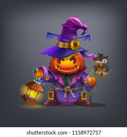 Happy Halloween character - spooky scarecrow with of head pumpkin,lantern and cute owl isolated on dark background. Vector illustration.