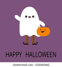 Happy Halloween. Child kid wearing ghost spirit costume. Pumpkin bag. Trick or treat. Funny creepy smiling face. Cute cartoon kawaii baby character. Eyes, teeth. Violet background. Flat design. Vector